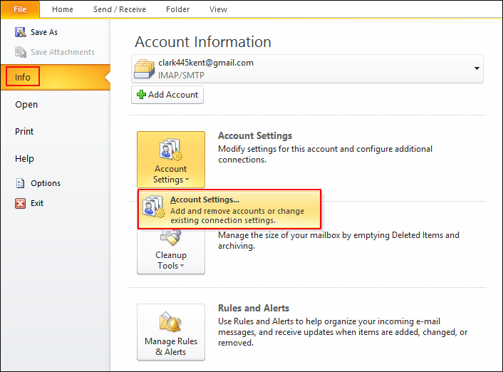 click account settings in Outlook 2010