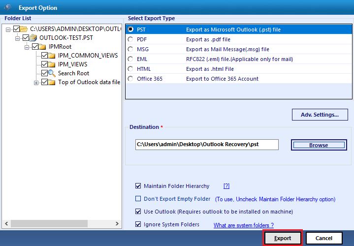 Export Selected Folder