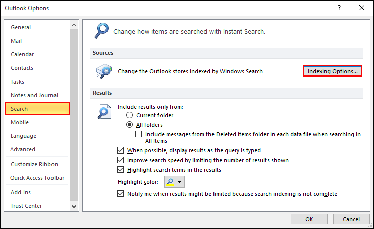 Rebuild Search Index In Outlook 2016, 2013 And 2010